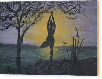 Yoga Tree Pose Wood Print by Donna Walsh