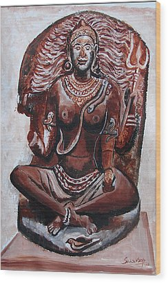Wood Print featuring the painting Yogini by Anand Swaroop Manchiraju
