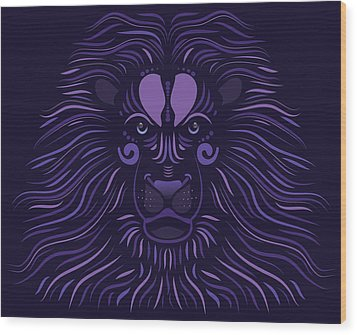 Yoni The Lion - Dark Wood Print by Serena King