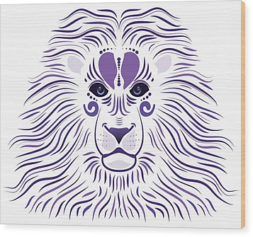 Yoni The Lion - Light Wood Print by Serena King