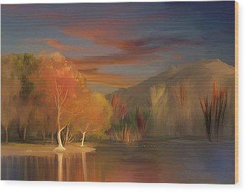 Yorba Linda Lake By Anaheim Hills Wood Print by Angela A Stanton