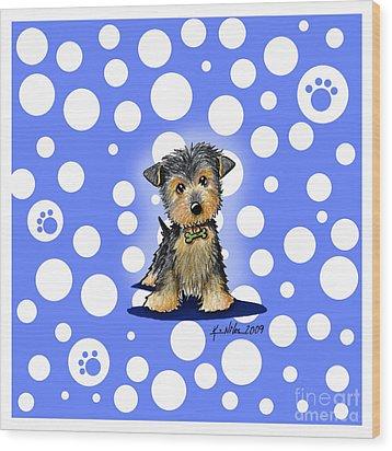 Yorkie Boy On Blue Wood Print by Kim Niles