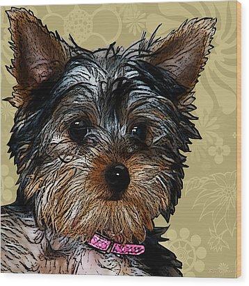 Yorkie In Beige Wood Print