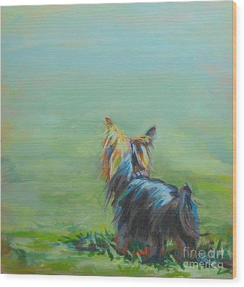 Yorkie In The Grass Wood Print by Kimberly Santini