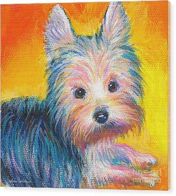 Yorkie Puppy Painting Print Wood Print by Svetlana Novikova