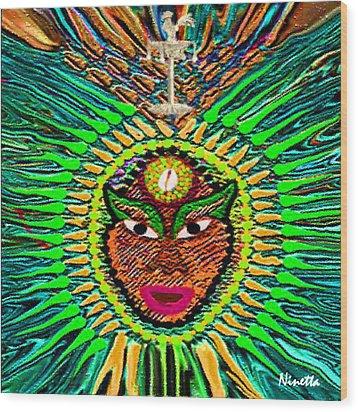 Yoruba Collection  Orula Wood Print by Andrea N Hernandez