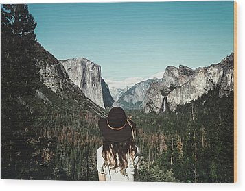 Yosemite Awe Wood Print by Marji Lang