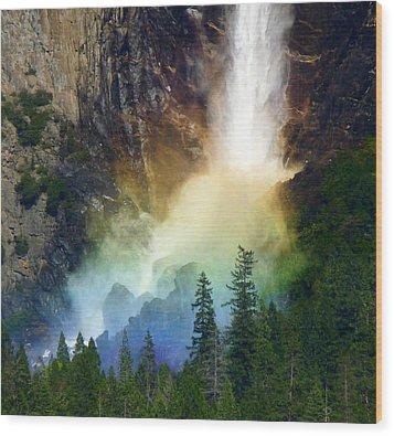 Yosemite Bridalveil Fall Rainbow Wood Print by Jeff Lowe