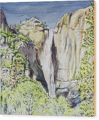 Yosemite Falls California Wood Print by Patricia Buckley
