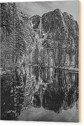 Wood Print featuring the photograph Yosemite Falls From The Swinging Bridge In Black And White by Bill Gallagher