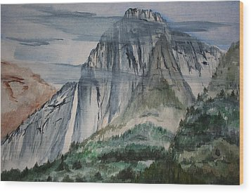 Yosemite Falls Wood Print by Julie Lueders