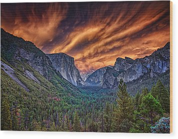 Yosemite Fire Wood Print