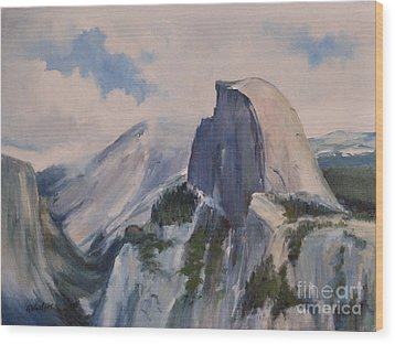 Yosemite Half Dome From Glacier Point Wood Print by Karen Winters
