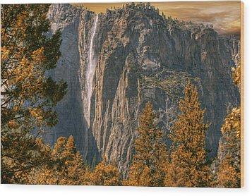 Yosemite In Fall Wood Print by Michael Cleere