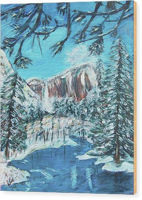 Yosemite In Winter Wood Print by Carolyn Donnell