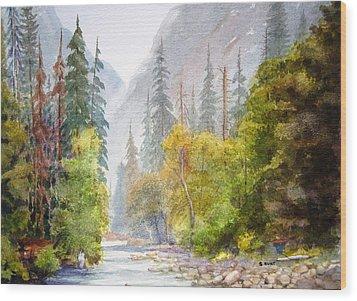 Yosemite Mist Wood Print by Shirley Braithwaite Hunt