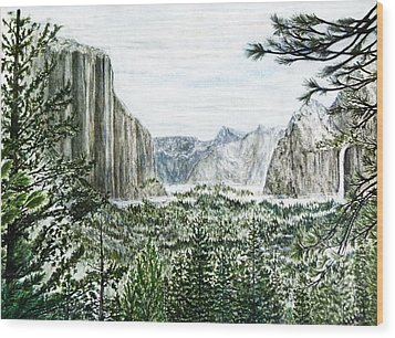 Yosemite ... The Tunnel Wood Print by G H Hisayasu