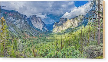 Wood Print featuring the photograph Yosemite Tunnel View Spring Storm by Scott McGuire