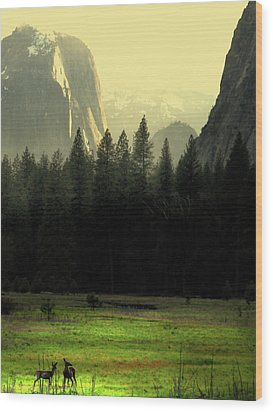 Yosemite Valley Golden . Vertical Wood Print by Wingsdomain Art and Photography