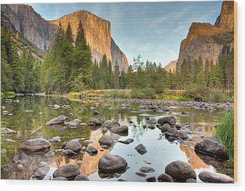 Yosemite Valley Reflected In Merced River Wood Print by Ben Neumann