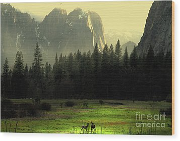 Yosemite Village Golden Wood Print by Wingsdomain Art and Photography