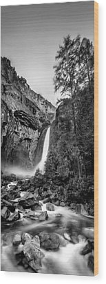 Yosemite Waterfall Bw Wood Print by Az Jackson