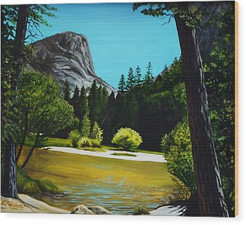 Wood Print featuring the painting Yosemite's Window by Elizabeth Robinette Tyndall