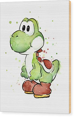 Yoshi Watercolor Wood Print by Olga Shvartsur