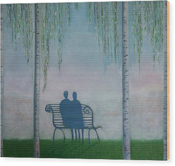 Wood Print featuring the painting You And I On The Bench by Tone Aanderaa