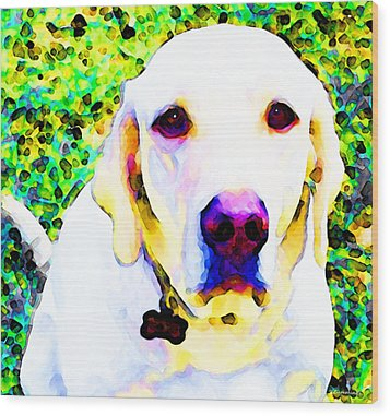You Are My World - Yellow Lab Art Wood Print by Sharon Cummings