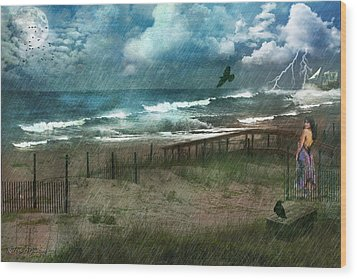 Wood Print featuring the digital art You Are So Far Away by Rhonda Strickland