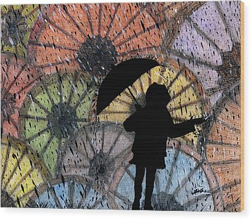 You Can Stand Under My Umbrella Wood Print by Sowjanya Sreeram