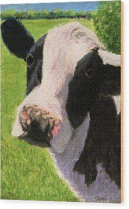 You Looking At Me Cow Painting Wood Print by Joan Swanson
