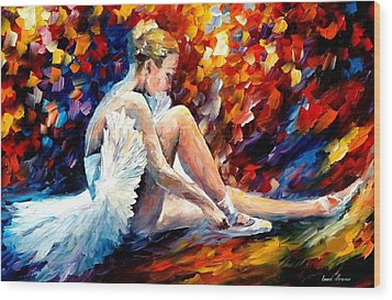 Young Ballerina Wood Print by Leonid Afremov