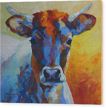 Young Blood - Longhorn Wood Print by Marion Rose