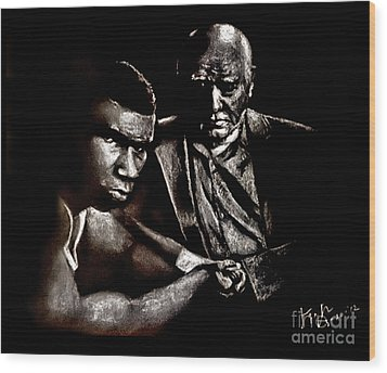 Young Boxer And Soon To Be World Champion Mike Tyson And Trainer Cus Damato Wood Print by Jim Fitzpatrick