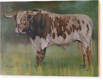 Young Bull Wood Print by Mary Leslie