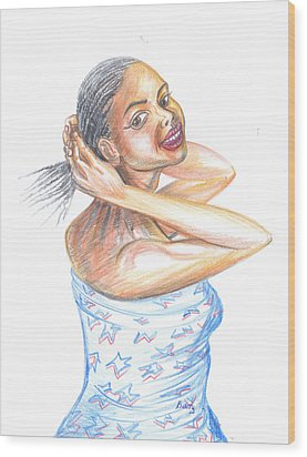 Wood Print featuring the painting Young Cameroun Woman Tying Her Hair by Emmanuel Baliyanga