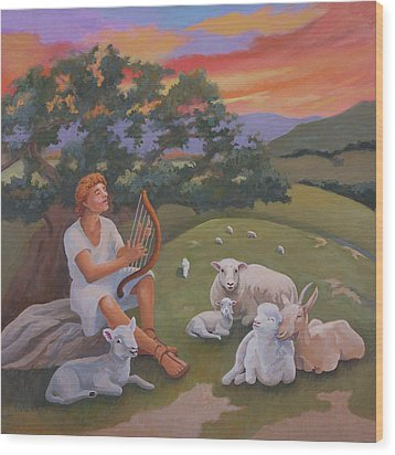 Young David As A Shepherd Wood Print