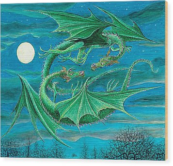 Young Dragons Frisk Wood Print by Charles Cater
