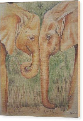 Young Elephants Wood Print