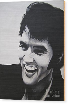 Wood Print featuring the painting Young Elvis by Ashley Price