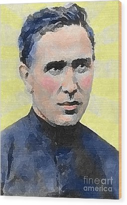 Young Father Damien Wood Print by James Temple