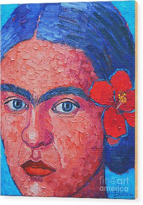 Young Frida Kahlo Wood Print by Ana Maria Edulescu