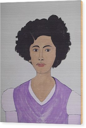 Wood Print featuring the painting Young Frida by Stephanie Moore
