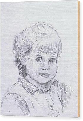 Young Girl Wood Print by Francine Heykoop