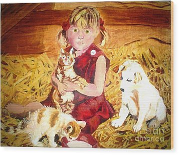 Young Girl In A Barn Wood Print