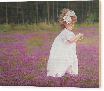 Wood Print featuring the painting Young Girl Picking Flowers by Pam Talley