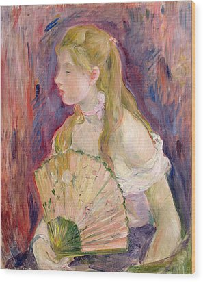 Young Girl With A Fan Wood Print by Berthe Morisot