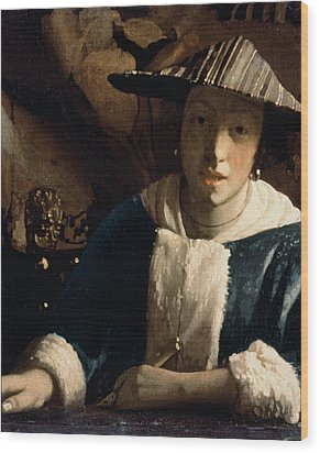 Young Girl With A Flute Wood Print by Jan Vermeer